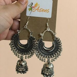 Indian silver earrings long with Jhumka